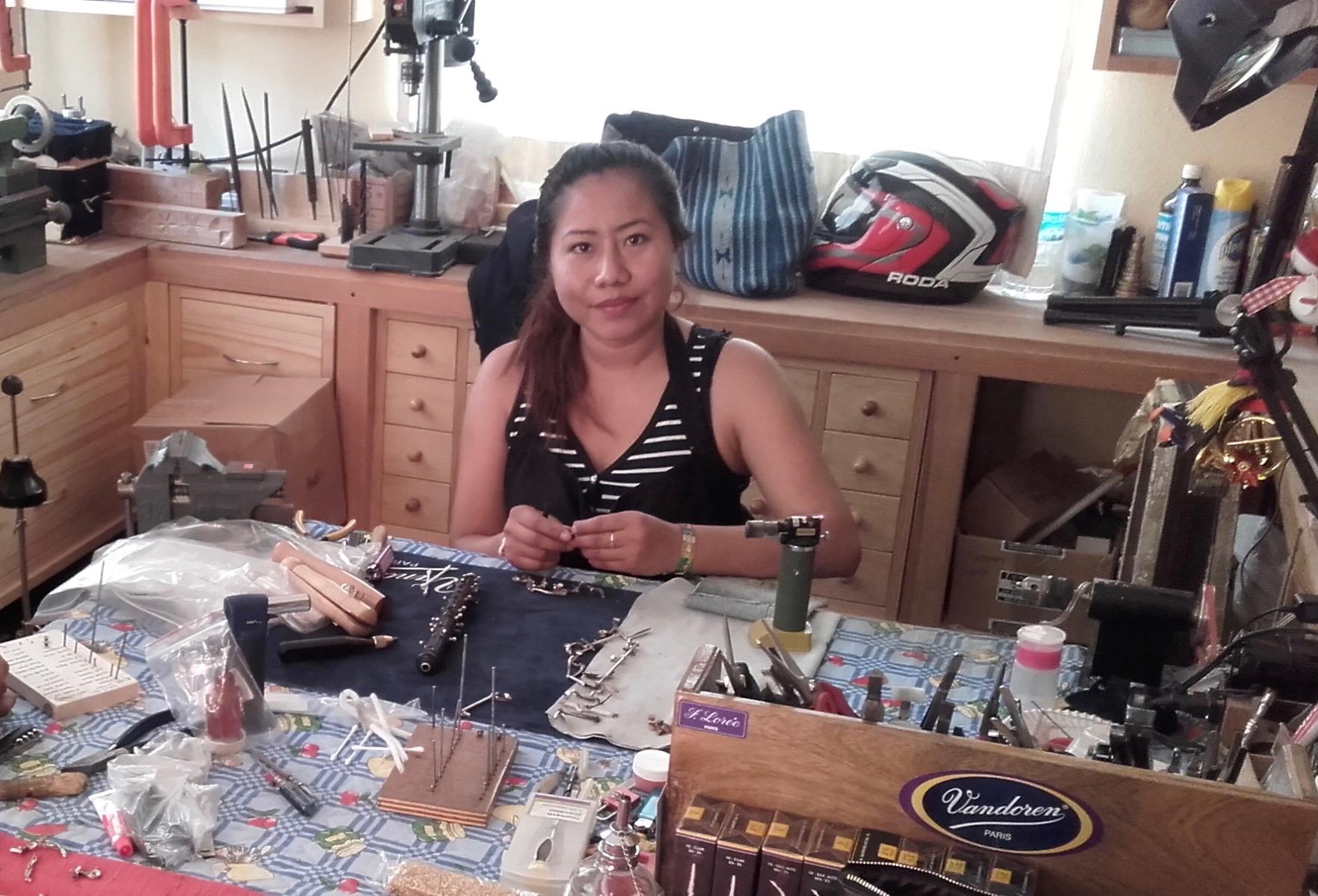 Paty dans l'atelier Santa Cécilia